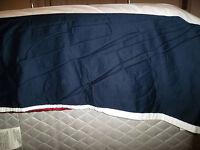 Ralph Lauren King Navy Blue White Pleated Split Corner Bed Skirt Dust Ruffle