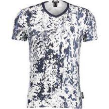BNWT Just Cavalli V Neck Grey Mens T-shirt ANIMAL PRINT TOP WHITE BLACK SMALL