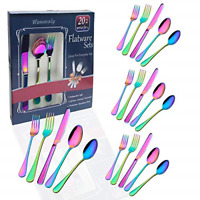 Rainbow colorful flatware set Stainless Steel silverware Tableware Set for Set