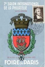 carte Foire de Paris 1951 7ème salon international de la philatélie