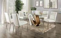 Modern 7 piece Dining Room Rectangular Glass Top Table & 6 White Chairs Set ICEE