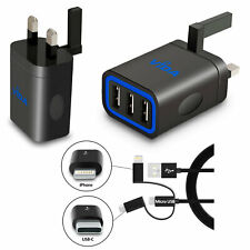 Rapid Speed 3.1A Multi Port USB Wall Charger Compact UK Plug with Charging Cable