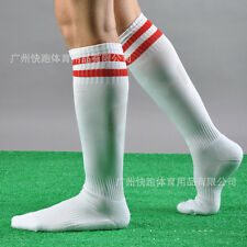 MENS SPORT FOOTBALL STRIPED LONG SOCKS KNEE HIGH LARGE HOCKEY RUGBY WOMENS NEW