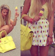 ASOS Popsicle Print mini Skirt Size 8 Box Pleats White Yellow Neon Pockets -E