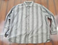 Mens 3X Long sleeve shirt Gray and Black Classic Fit Pronto Uomo