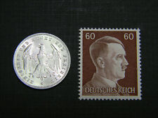 Authentic Nazi 3rd Reich HITLER Stamp WW2 and Antique German 200 Mark Coin