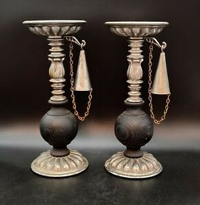 """Dilly Candle Holders With Snuffer Silver Tone  And Black 10"""" Tall Vintage"""