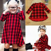Toddler Kids Baby Girl Long Sleeve Cotton Plaid Dress Party Princess Swing Dress