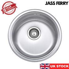 JASS FERRY New 145mm Depth Stainless Steel Drainer Kitchen Sink Round Bowl Brush