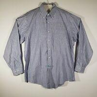 Brooks Brothers Mens Button Down Shirt Long Sleeve Blue Stripe 16.5x34 Cotton