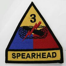 3RD ARMORED DIVISION SPEARHEAD US ARMY EMBROIDERED PATCH 3.5 x 3.75 INCHES