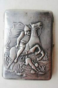 Rare Antique Russian Cigarette case silver 84 Hunting hare horse