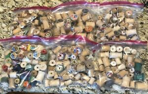 Vintage Lot Of Wooden Sewing Thread Spools. Estimated Over 300. Free Shipping!