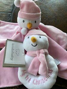 Koala Baby Pink Snowman First Christmas Lovey Blanket Plush Rattle Set NEW