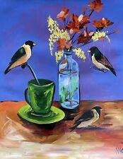 MARINA REHRMANN Original Birds Flowers Coffee Tee China Green Cup Vase Signed 🧿