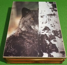 Vintage JEWELRY DECORATION SMALL TRINKET WOOD BOX BLACK BEAR TREE WINTER PRINT
