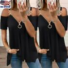Sexy Women's V Neck Short Sleeve Blouse T Shirt Tee Ladies Cold Shoulder Tops US