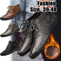 Men's Oxford Leather Casual Shoes Moccasin Velvet Combat Ankle Boots Warm Winter