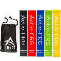Resistance Bands Exercise Loop Home Fitness Yoga Pilates Physio Workout Set of 5