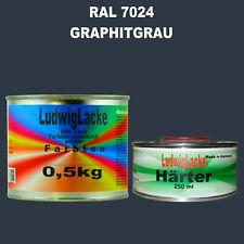 Graphitgrau RAL 7024 MATT Acryllack 0,75 kg mit Härter Frei Haus