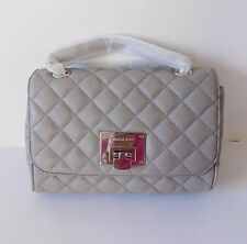 NWT Michael Kors Vivianne Quilted Medium Flap Leather shoulder bag ~ Pearl Grey