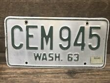VINTAGE ORIGINAL WASHINGTON  LICENSE PLATE 63-64  BASE CEM 945 ~ Spokane Co.