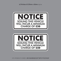 Minimum Soiling Charge £50 Sticker Ideal For Taxi Coach Bus Minibus - SKU3138