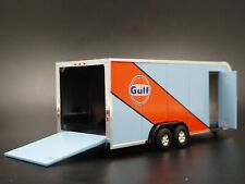 Gulf Enclosed Car Toy Hauler Trailer w/ Opening Door 1:64 Scale Diorama Model