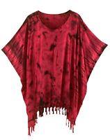 BeautyBatik Red Womens BOHO HIPPIE Batik Tie Dye Plus Size Tunic Blouse Kaftan