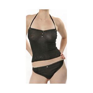 Lux Lux Black Silk Seamless Halterneck Vest