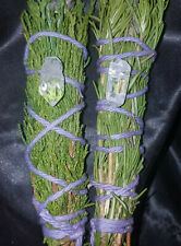 "Two Magical Crystal Incense Smudge Sticks - Pure Cedar and Juniper 5-6"" Reiki"