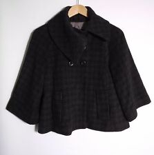 Cue Women's Black & Grey Plaid Button-Up 3/4 Sleeve Jacket - Size 10