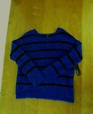 NEW Relativity Scoop Neck Pullover Sweater Sz Large L/S Blue/Black Stripe  NWT