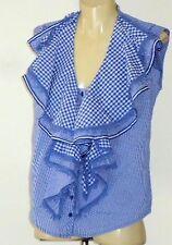 DEMGIRL,NZ BlueCheckFrilledSleeveless32%CottonBlend Size8