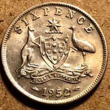 AUSTRALIA - George VI - Silver Sixpence - 1952m - Melbourne Mint - AU