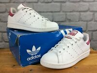 ADIDAS UK 3 EU 35.5 STAN SMITH WHITE PINK TRAINERS GIRLS CHILDRENS LADIES LD