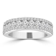 1.16 ct Ladies Three Row Round Cut Diamond Wedding Band in 14 kt White Gold
