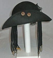 Black wool felt hat with frilly floral type nylon bow