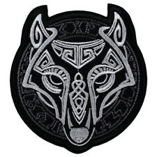 Viking Wolf Fenrir Head Norse Knotwork Patch