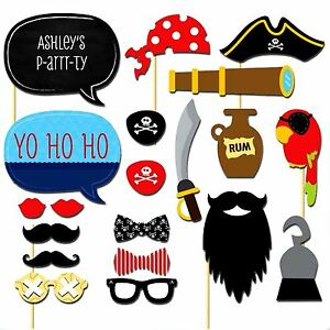 20 Pirate Party Photo Booth Props Birthday Party Games Halloween Decorations