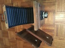 """Vintage 8"""" x 10"""" Antique Wooden Brass PLATE CAMERA w/Bellows. Two Plate Holders"""