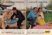 1963 2 PAGE ORIGINAL VINTAGE CENTERFOLD HERTZ CAR RENTAL MAGAZINE AD
