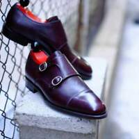 Handmade Men's Maroon Leather Monk Strap Double Leather Shoes