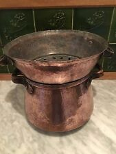French Vintage Copper Cauldron Pot and Strainer