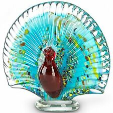 New in Box Art Glass Ruby Red Peacock by Lenox