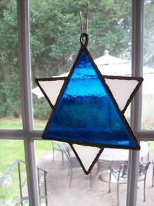"VINTAGE 1966 ""STAR"" SUNCATCHER TEXTURED STAINED GLASS HAND MADE STUDIO ART USA"