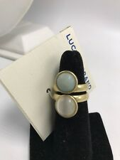 $35 Lucky Brand  Gold Cat's Eye Aqua Jade Stack Look Wide Band Ring 7 #202