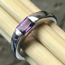 Natural Rose De France Amethyst 925 Solid Sterling Silver Emerald Cut Ring sz 7