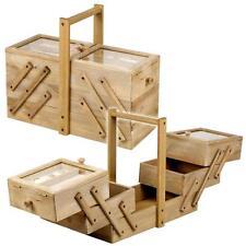 Wooden Sewing Thread Box Large Vintage Antique Cantilever Storage Organizer Box