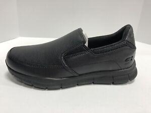 Skechers Slip Resistant Black Leather Slip On Shoes Men's Size 8M Memory Foam